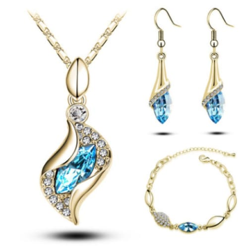 Crystal Earrings Necklace Bracelet Jewelry Accessory Set