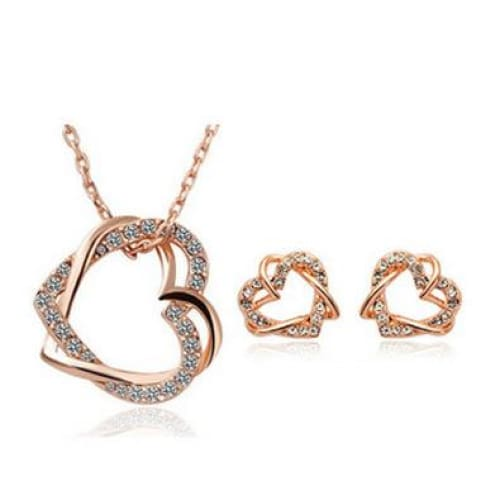 Double Heart Crystal Necklace and Earring Set
