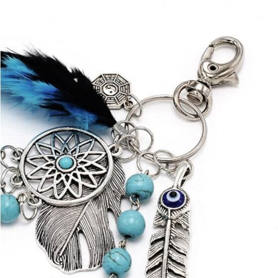 Dream Catcher Keychain Boho Feather Ornament For Key Ring