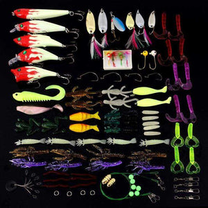 Fishing Lure Kit Set 100 Pcs Tackle Soft Bait Tool Outdoor Accessories