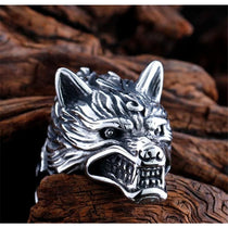 Mens Native Wolf Ring Silver Stainless Steel American Fashion