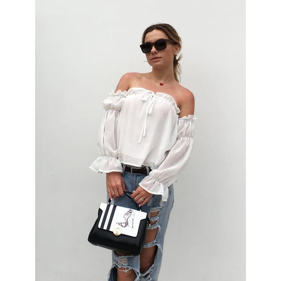 New 2019 Summer Fashion Sexy Off Shoulder Short Crop Chiffon Blouse