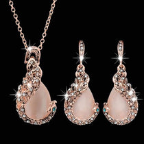 Rain Drops Necklace & Earrings Jewelry Set