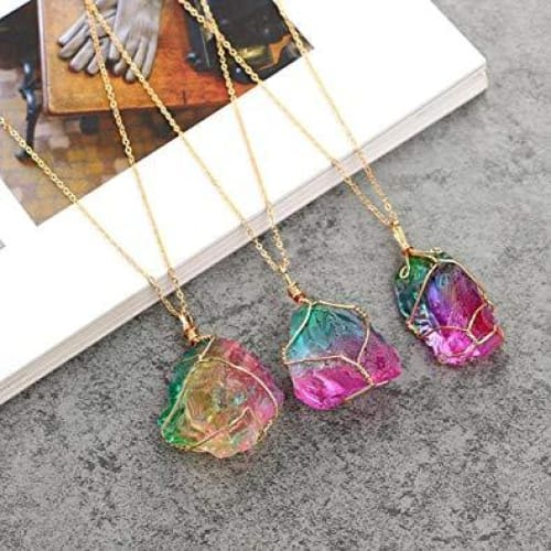 Rainbow Necklace Wire Natural Stone Wrapped Crystal Pendant