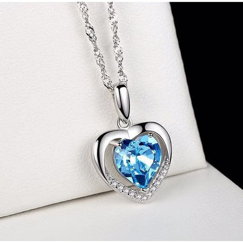 Silver Heart Crystal Necklace 925