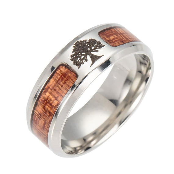 Titanium Steel Wedding Ring With Teak Wood Inlay Tree Of Life Cross