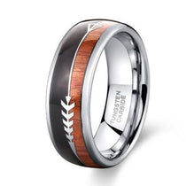 Tungsten Carbide Ring Koa Wood Inlay - Arrow Dome Design
