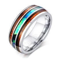 Tungsten Carbide Ring with Koa Wood 8mm Dome Shape