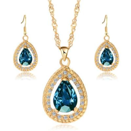 Waterdrop Necklace & Earrings Jewelry Accessory Set