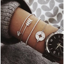 Womens 3 Piece Bohemian Arrow & Compass Bracelet Set