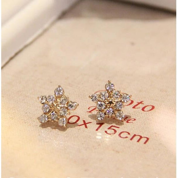 Womens Diamond Flower Eearring 925 Sterling Silver Ear Snowflake Rhinestone