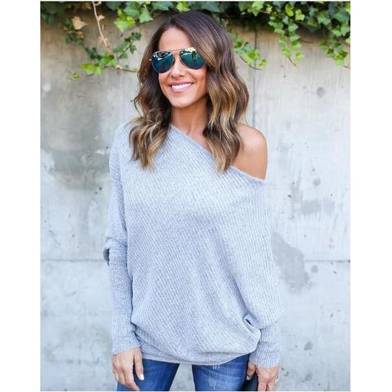 Womens Fashion One Shoulder Sexy Batwing Off the Shoulder Sweater