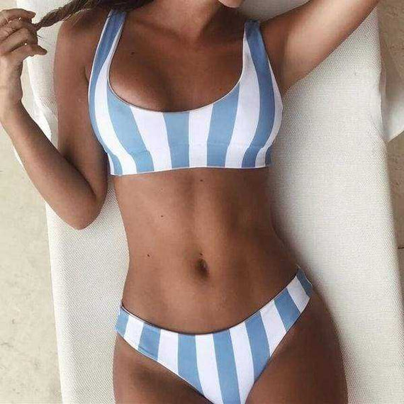 Womens New Summer 2019 Sports Bra Bikinis Set Low Waist Swimsuit