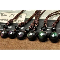 Womens Obsidian Stone Necklace Rainbow Eye Beads Pendant Lucky Love
