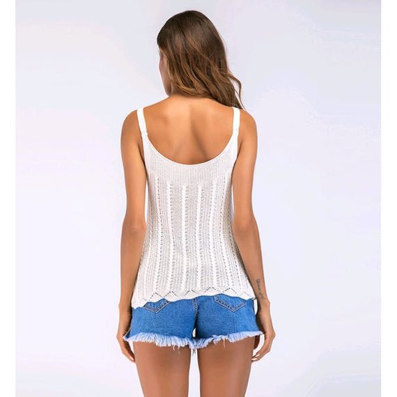 Womens Summer 2019 Sexy U-Neck Tank Top White Thin Knitwear Vest
