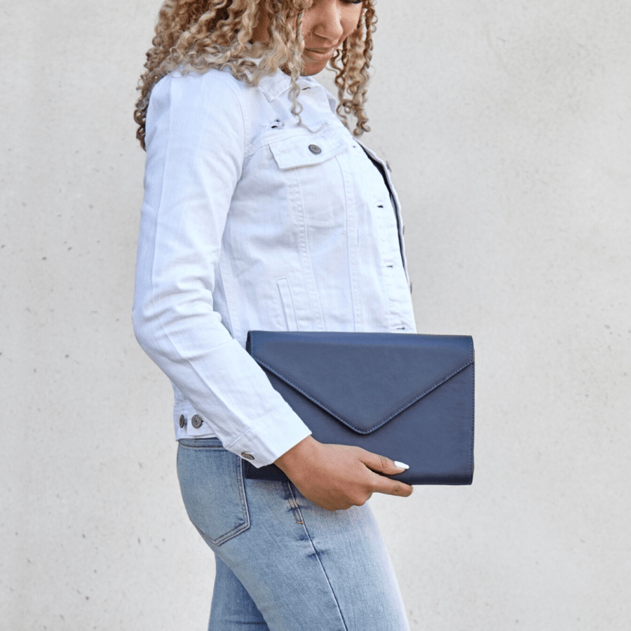 leather envelope clutch