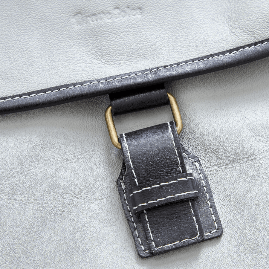 Upcycled leather messenger bag