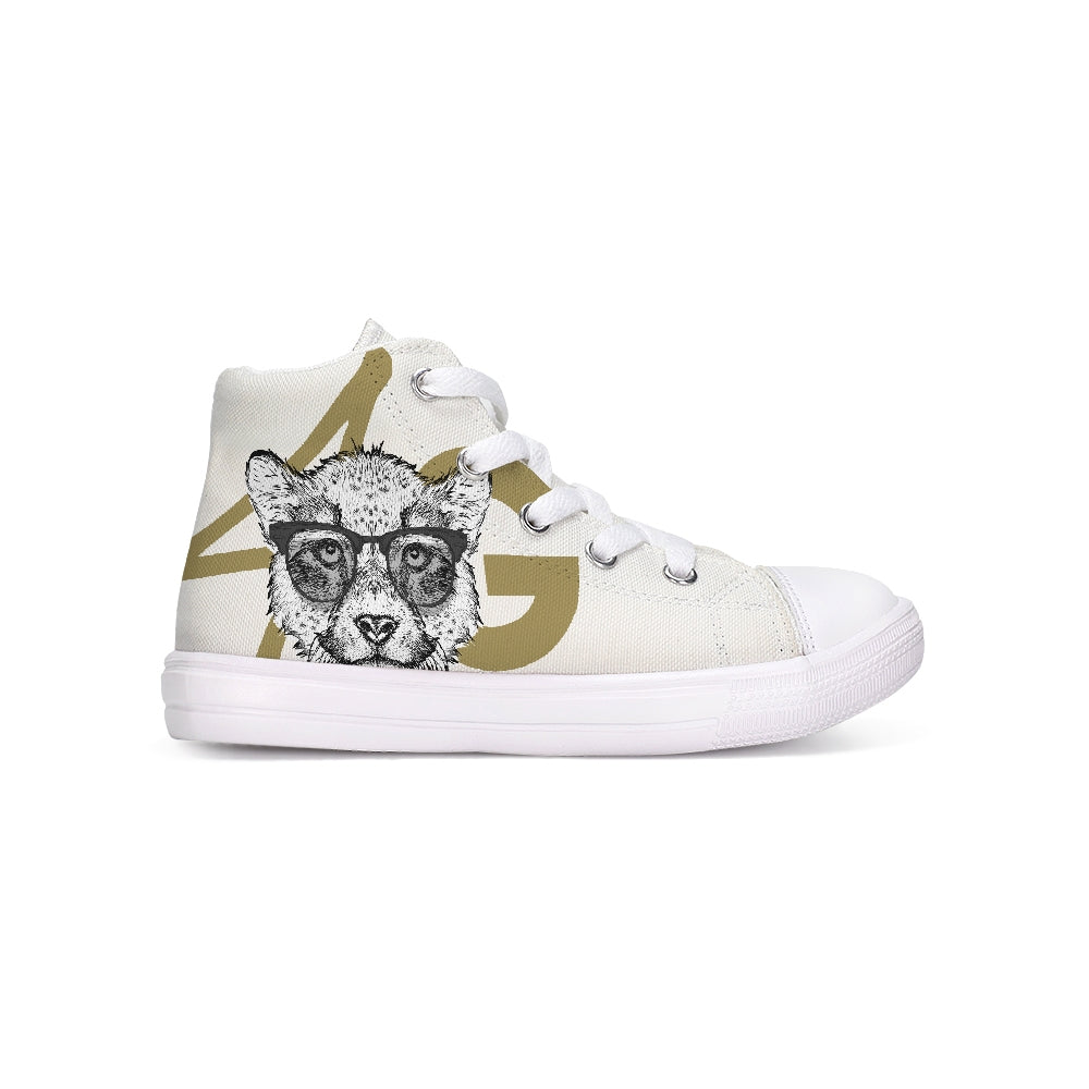 White & Gold Kids Hightop Canvas Shoe