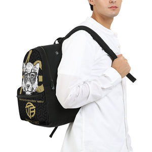 White & Gold Small Canvas Backpack