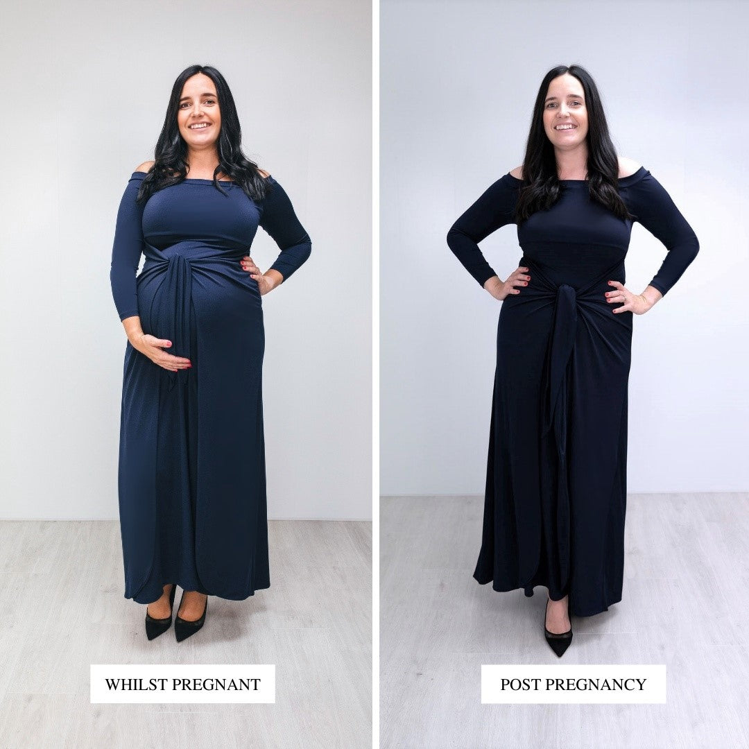 Bump to Baby Magical Maxi Dress - Navy - Before / After