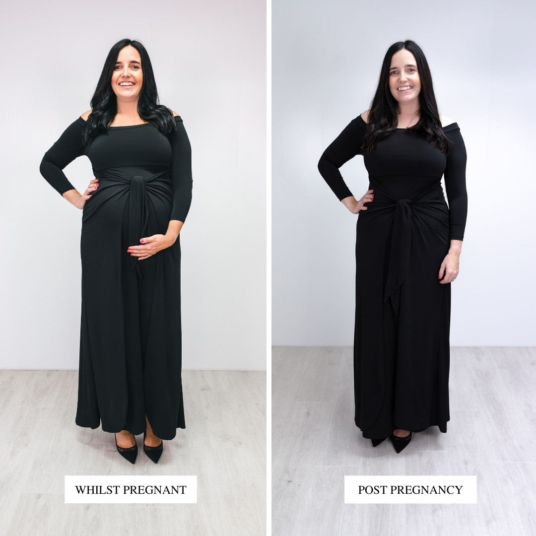 Bump to Baby Magical Maxi Dress - Black - Before / After