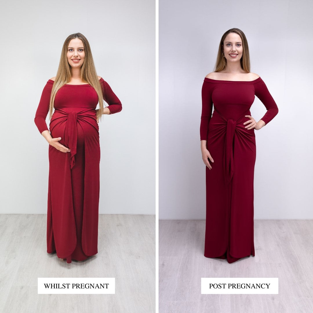 Bump to Baby Magical Maxi Dress - Burgundy - Before / After