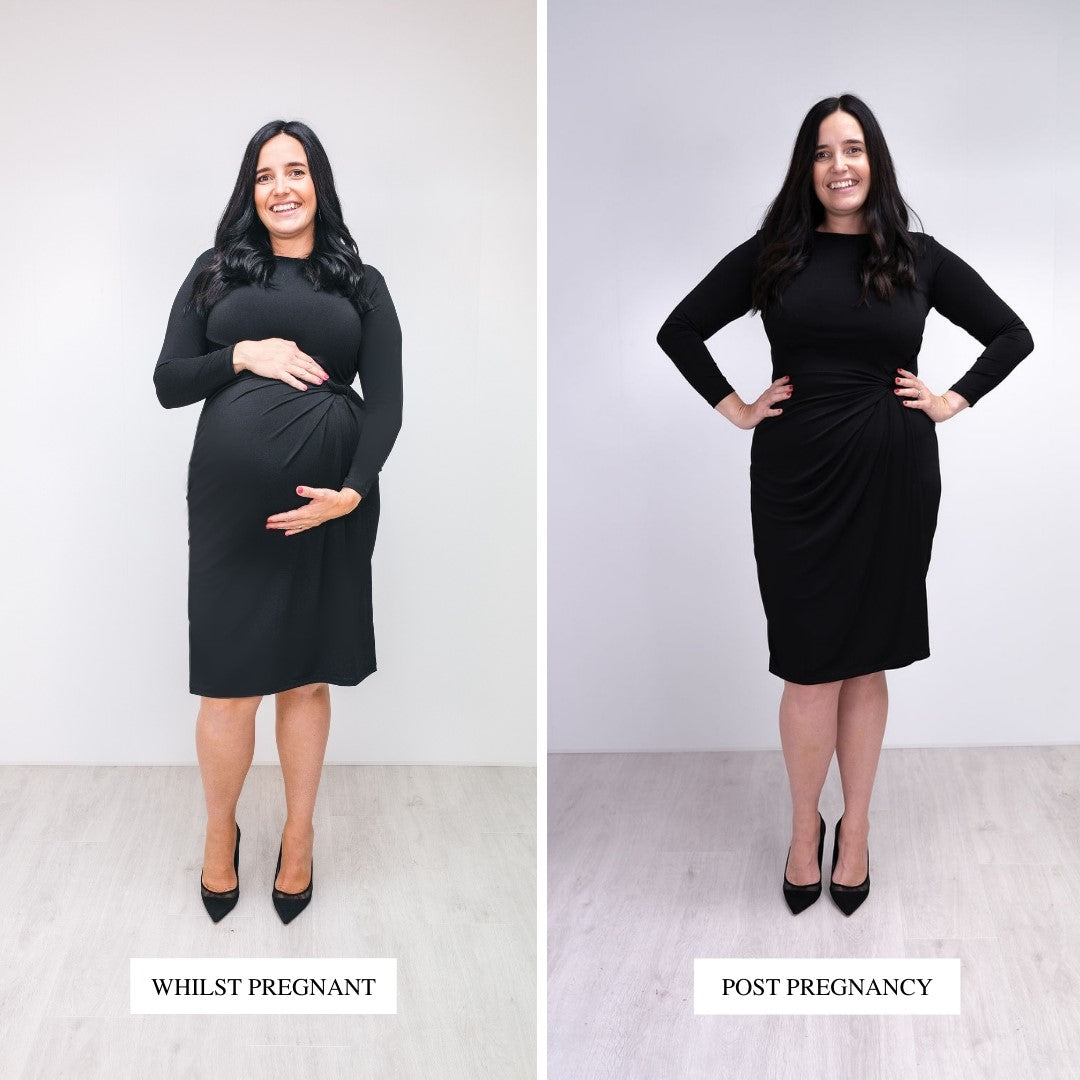 Bump to Baby Classy Classic Shift Dress - Black - Before / After