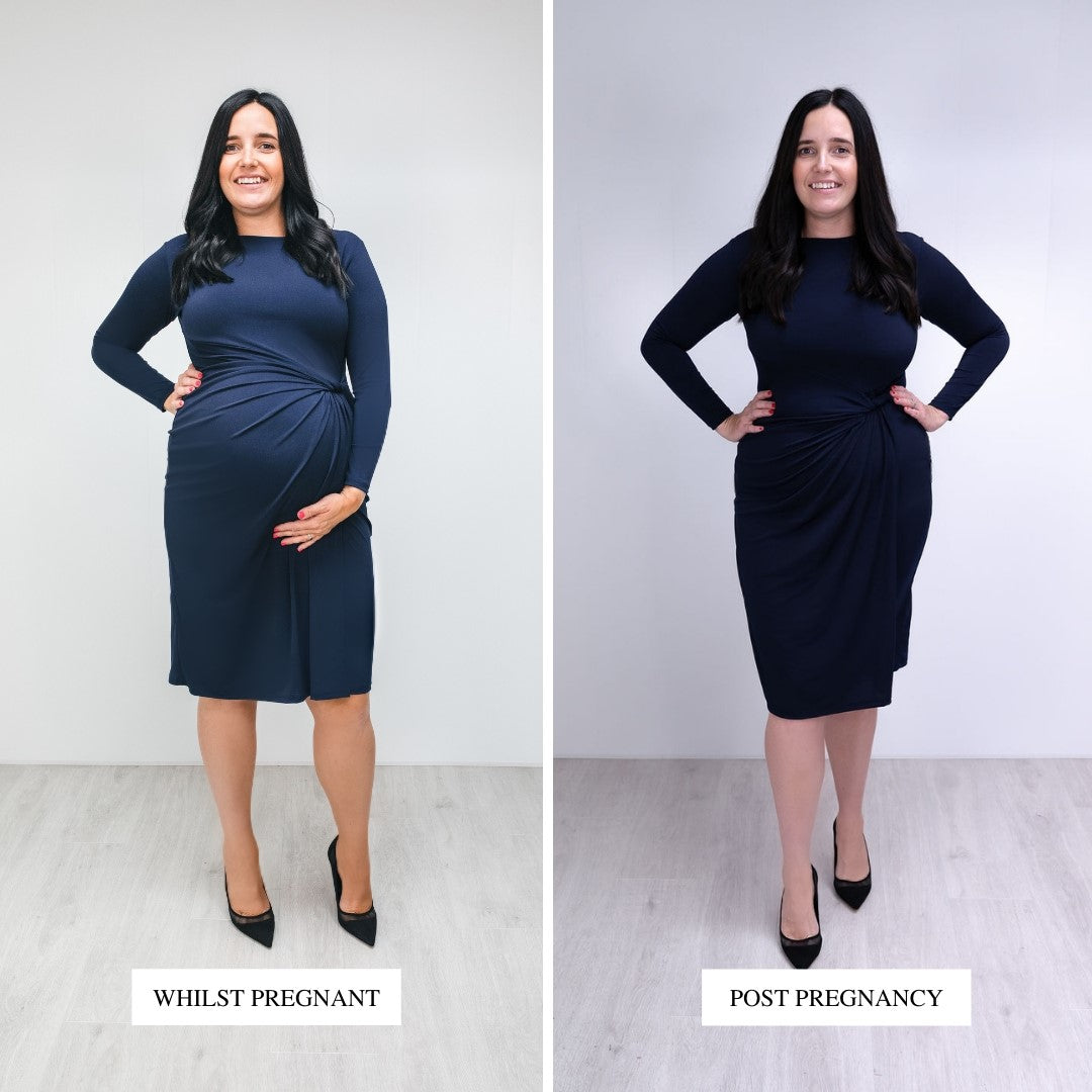 Bump to Baby Classy Classic Shift Dress - Navy - Before / After