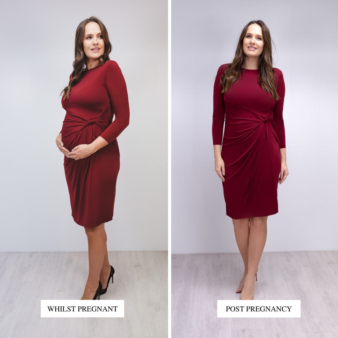 Bump to Baby Classy Classic Shift Dress - Burgundy - Before / After