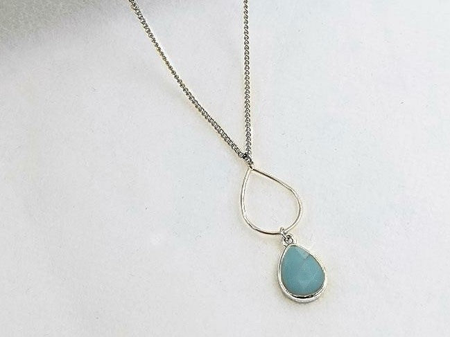 Amazonite White Gold Teardrop Necklace