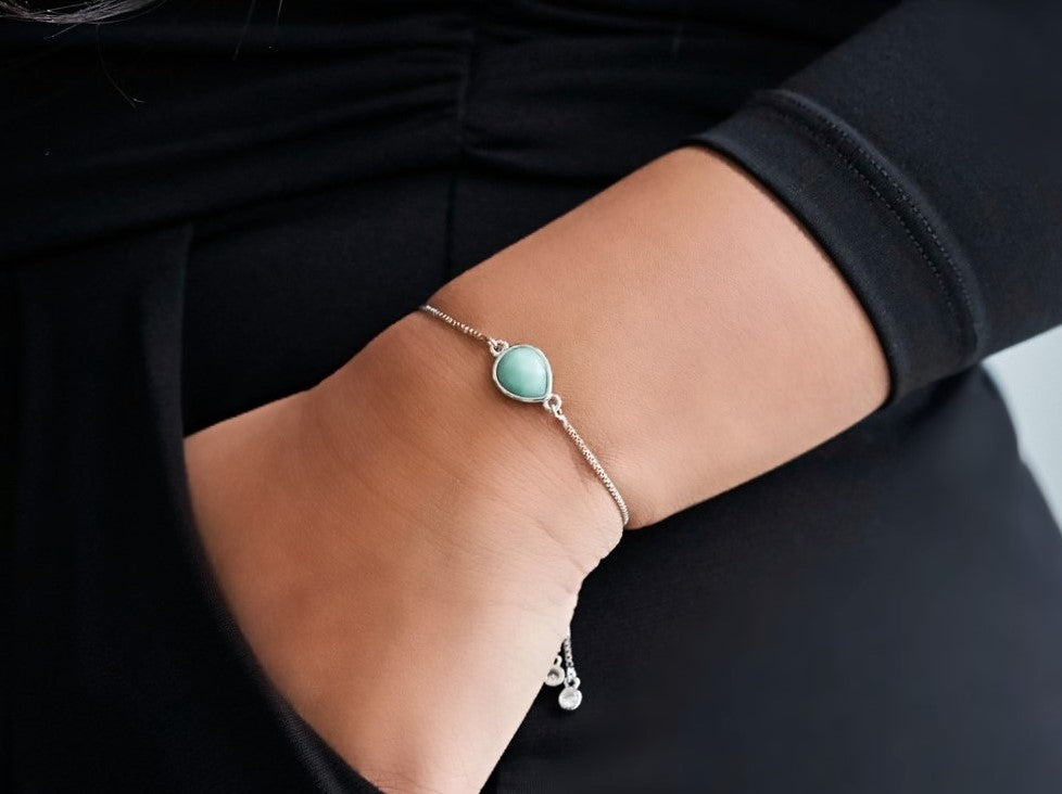 Amazonite White Gold Teardrop Bracelet