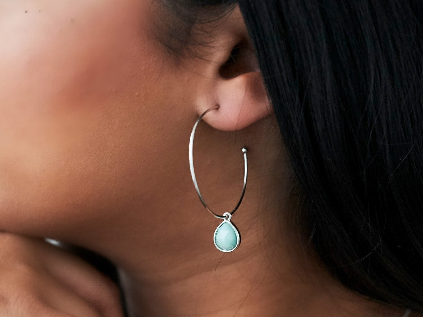 Amazonite White Gold Hoop Earrings