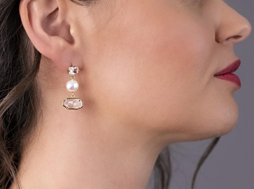 Moonstone & Pearl Earrings