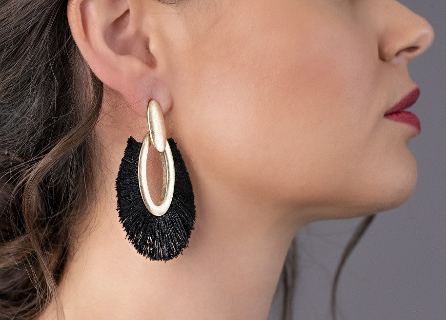 Teardrop Tassel Statement Earrings – Black