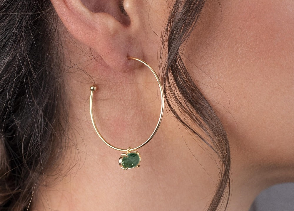 Sea Green Gold Hoop Earrings