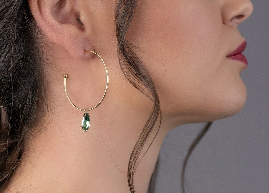 Sea Green Crystal Hoop Earrings