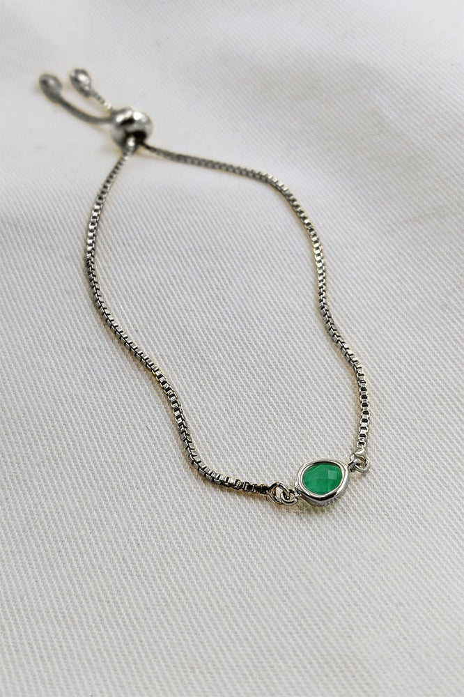 Emerald Green White Gold Bracelet