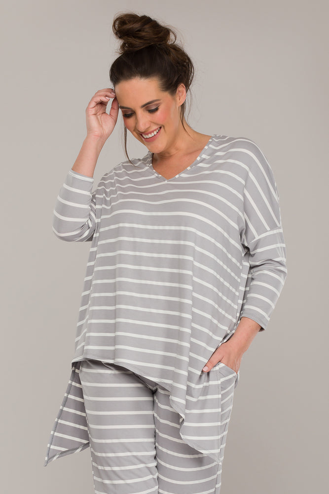 ANEKA DOUBLE ASYMMETRIC TOP WHITE/GREY