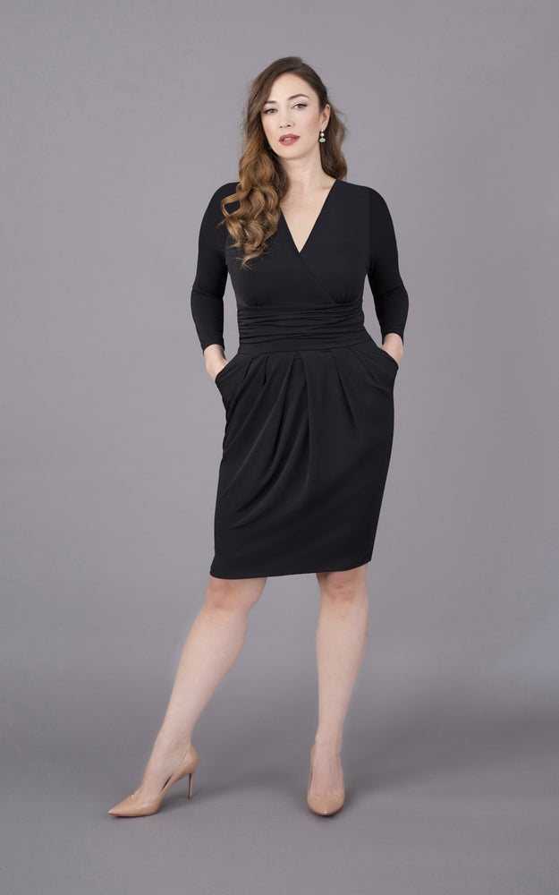 V Neck Short Figure Flattering Dress - Black