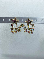 Gold Diamanté Star Earrings