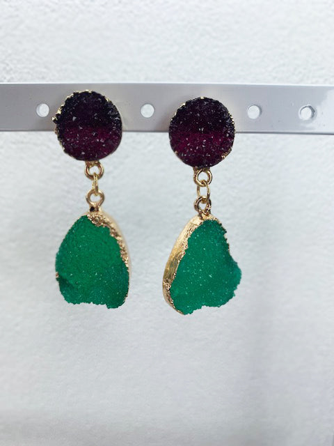 Gold and Purple Two Tone Druzy Stone Earrings