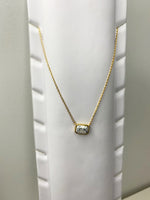 White and Grey Marble Gold Necklace