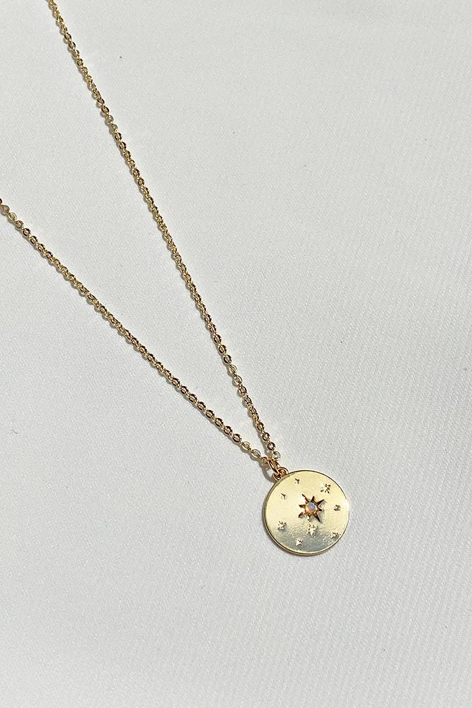 Opal Gold Disc Necklace