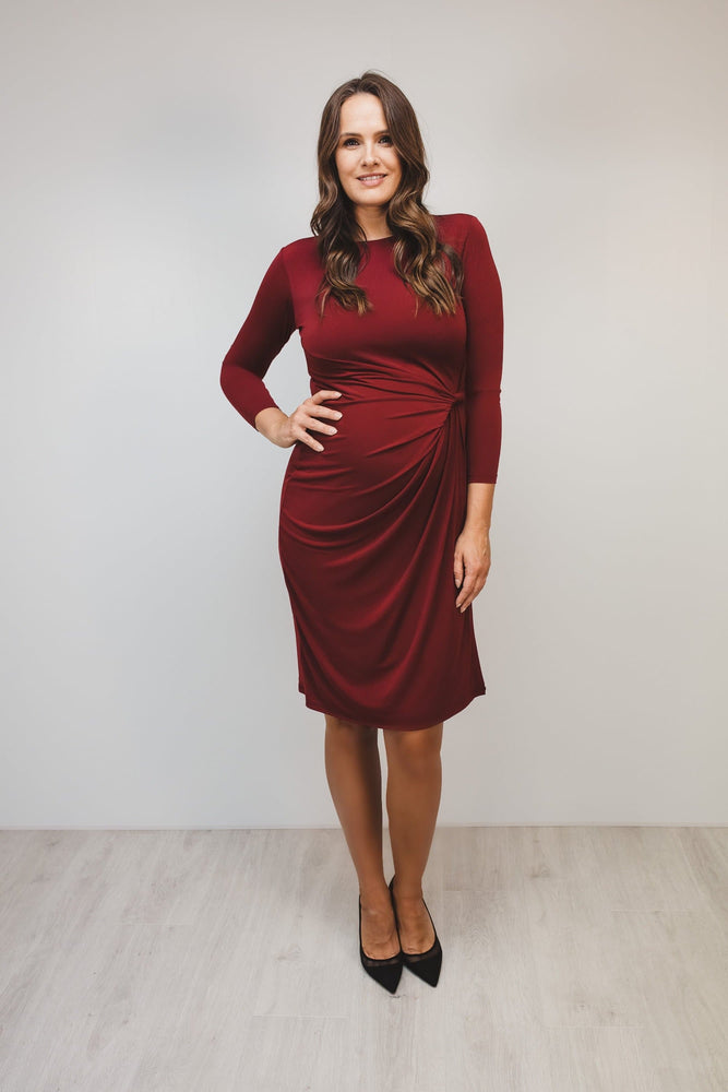 Bump to Baby Classy Classic Shift Dress - Burgundy