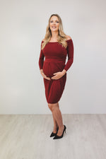 Bump to Baby Beautiful Bardot Dress - Burgundy