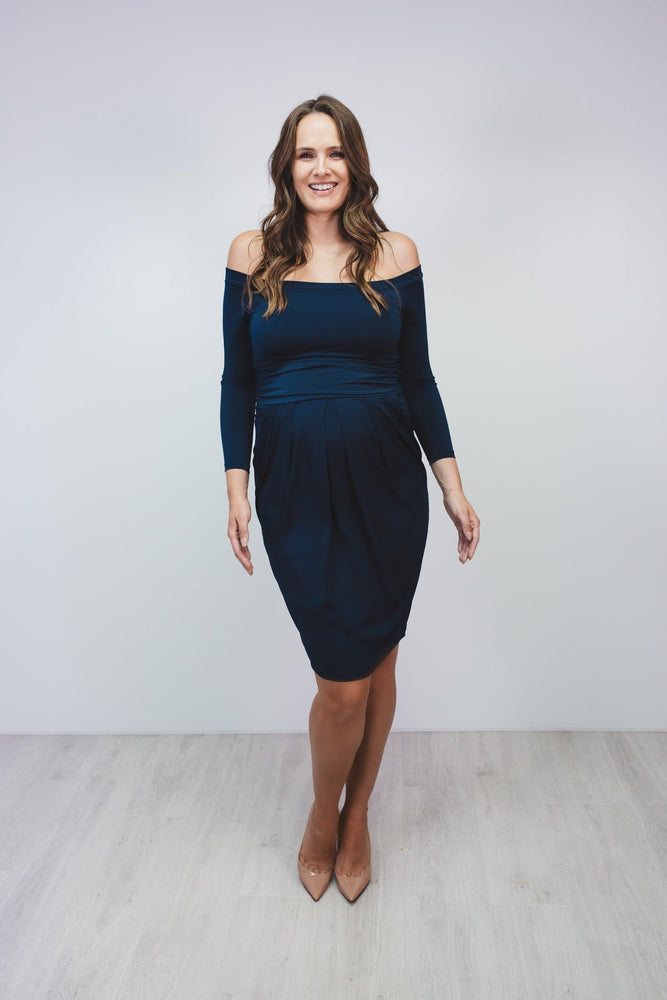 Bump to Baby Beautiful Bardot Dress - Navy