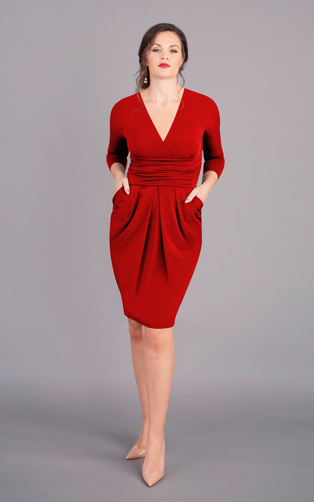 V Neck Short Figure Flattering Dress - Red