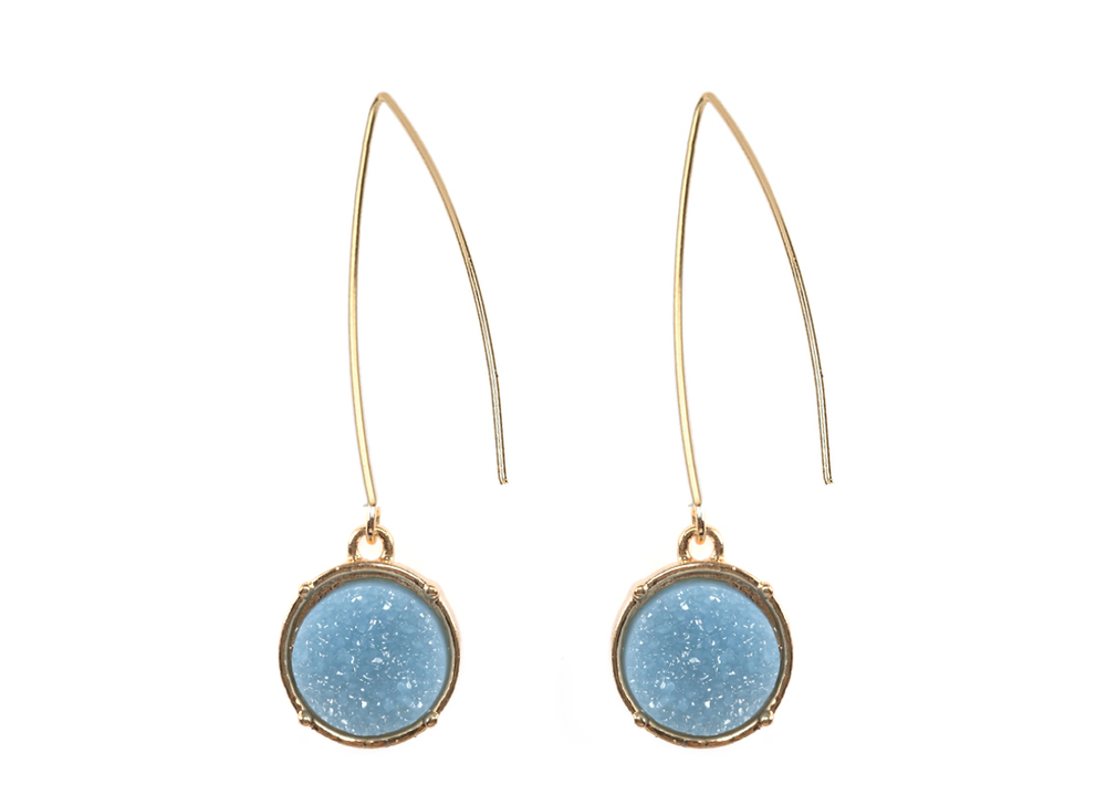 Blue Druzy Fishhook Earrings