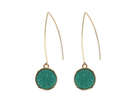 Teal Druzy Fishhook Earrings