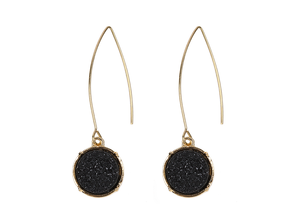Black Druzy Fishhook Earrings